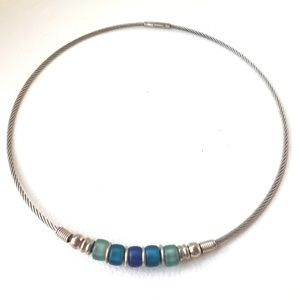 Sea Glass Frosted Beads Choker Wire Necklace